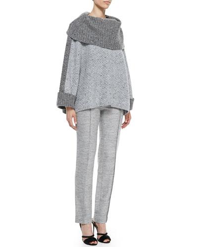Carolina Herrera Turtleneck Box Sweater & Melange Tweed Trousers