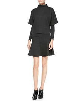 Ralph Lauren Black Label Hammond Mock-Neck Top, Long-Sleeve Jersey Top & Maye Flounce Skirt