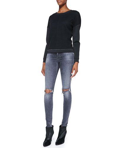 J Brand Jeans Montana Raw-Edge Contrast Top & Mid-Rise Distressed Skinny Jeans