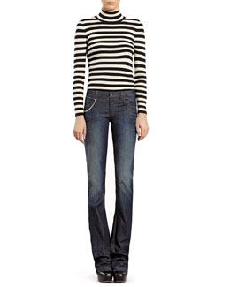 Gucci Striped Silk Cashmere Turtleneck Sweater & Blue Stonewashed Stretch Denim Flare Jeans