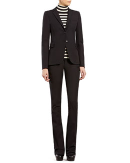 Gucci Black Riding Jacket, Striped Silk Cashmere Turtleneck Sweater & Black Cotton Stretch Pants