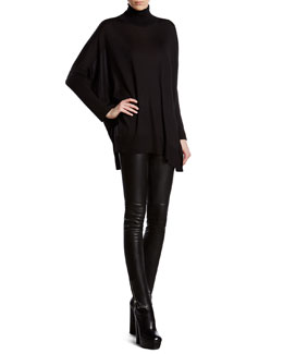 Gucci Black Silk Cashmere Blend Oversized Sweater & Black Stretch Leather Leggings