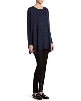 Gucci Blue Silk Cashmere Blend Oversized Sweater & Black Stretch Pants with Leather Detail
