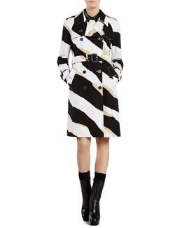 Gucci Zebra Print Trench Coat, White Silk Shirt with Leather Collar & Black Military Skirt with Leather Trim