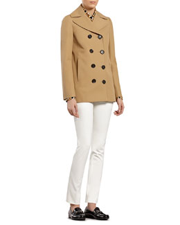Gucci Beige Cotton Canvas Sailor Pea Coat, Tobacco Leopard Shirt & White Cotton Stretch Pants