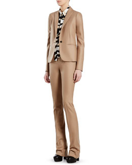 Gucci Beige Stretch Flannel Jacket, Pants & Tiger-Print Crepe de Chine Shirt