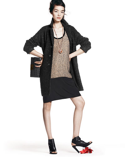 Eileen Fisher Curly Alpaca Boxy Coat & Sequined Racerback Dress
