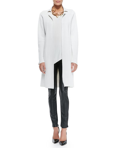 Eileen Fisher Silk-Cotton Interlock Long Drama Jacket, Silk Asymmetric Draped Shell & Ponte Leather-Blocked Leggings