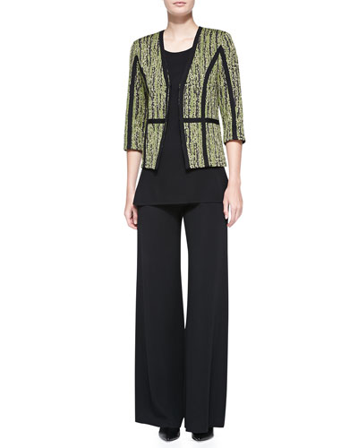 Gold Metallic 3/4-Sleeve Jacket, Knit Scoop-Neck Tank Top & Knit Palazzo Pants, Petite