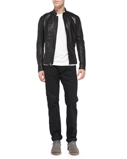 Vince Lightweight Lambskin Moto Jacket & Black-Rinse Selvedge Denim Jeans