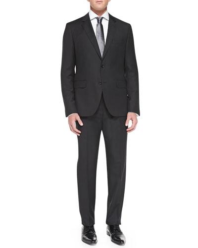 Basic Wool Jacket & Melange Flat-Front Trousers, Charcoal