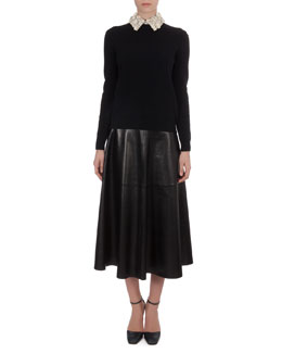 Valentino Knit Sweater with Floral-Leather Collar & Long Leather Flare Skirt