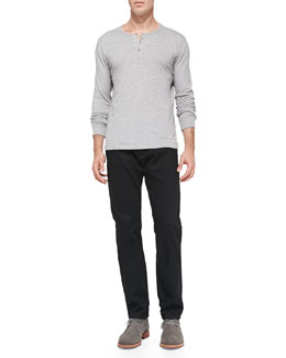 Vince Jersey Long-Sleeve Henley & Black-Rinse Selvedge Denim Jeans