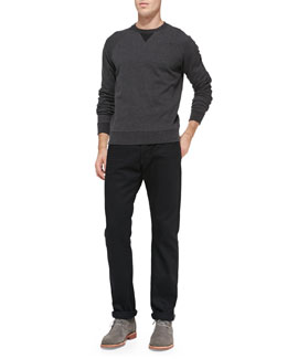 Vince French Terry Crewneck Sweatshirt & Black-Rinse Selvedge Denim Jeans