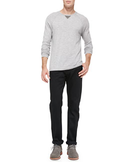Vince Wool/Cashmere Long-Sleeve Sweatshirt & Black-Rinse Selvedge Denim Jeans