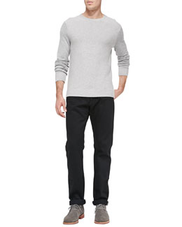 Vince Textured Knit Sweater & Black-Rinse Selvedge Denim Jeans