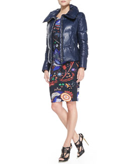 Roberto Cavalli Zip Leather Puffer Jacket & Abstract Floral-Print Boat-Neck Sheath Dress