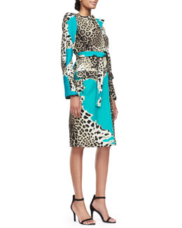 Roberto Cavalli Leo Patch Cashmere/Wool Coat & Cap-Sleeve Dress