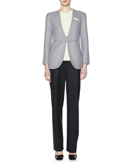 Giorgio Armani Contrast-Lined V-Neck Jacket, Cashmere Interlock Sheer-Inset Top & Soft Inverted-Pleat Flannel Pants