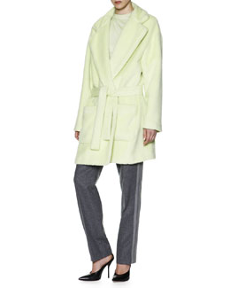 Giorgio Armani Alpaca/Wool Belted Coat, Cashmere High-Neck Camisole & Side-Stripe Slim-Leg Pants