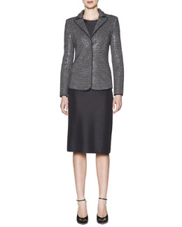 Giorgio Armani Allover Beaded Chevron Jacket & Long-Sleeve Ottoman-Knit Dress