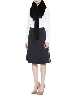 Marni Fox Fur Collar, Embellished Silk Blouse & Side-Zip Contrast-Insert Skirt