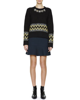 Marni Jewel-Front Patterned Knit Sweater & Flounce-Hem Stretch-Wool Skirt