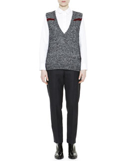 Marni Mélange Feather Jewel-Back Sweater Vest, Asymmetric Ruffle-Hem Poplin Blouse & Cropped Flat-Front Yoke Pants