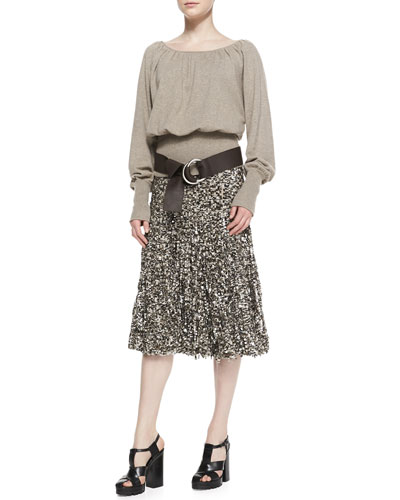 Michael Kors  Knit Blouson Peasant Top & Tulle/Paillette Skirt