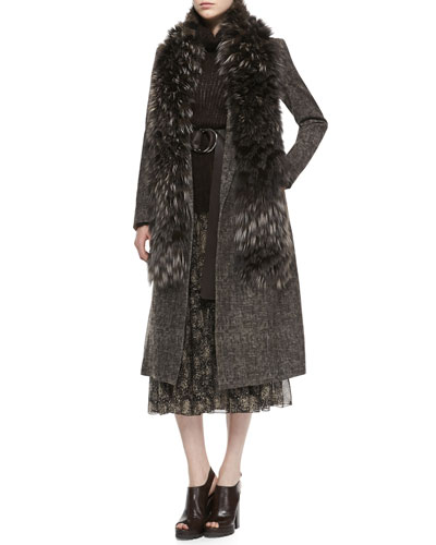 Michael Kors  Smudged Plaid Overcoat, Fuzzy Mohair Turtleneck Sweater & Tiered Floral-Print Skirt