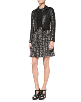 Michael Kors  Quilted Leather Cropped Jacket & Leather-Trim Combo Dress