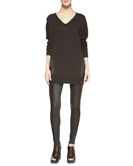 Michael Kors  Leather-Pocket V-Neck Tunic & Leather/Suede Leggings