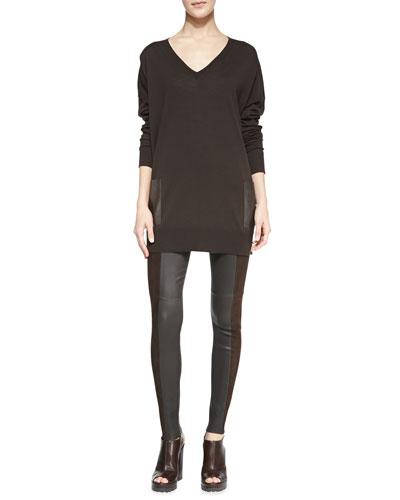Michael Kors  Leather-Pocket V-Neck Tunic & Leather/Suede Leggings