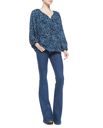 Michael Kors  Floral-Print Peasant Top & Stretch-Denim Flared Jeans