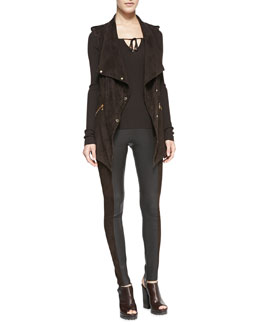Michael Kors  Draped Suede Snap Vest, Tie-Neck Knit Top & Leather/Suede Leggings