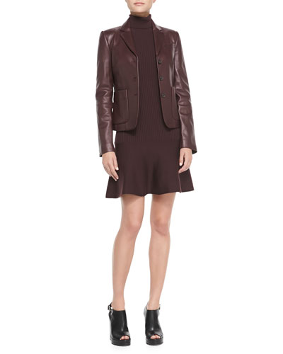 Michael Kors  Three-Button Leather Blazer & Ribbed Flare-Hem Turtleneck Dress