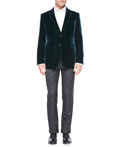 Velvet Two-Button Jacket & Solid Wool/Cashmere Trousers