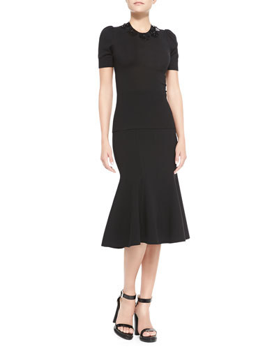 Michael Kors  Embellished Puff-Sleeve Blouse & Fitted Stretch Flare-Hem Skirt