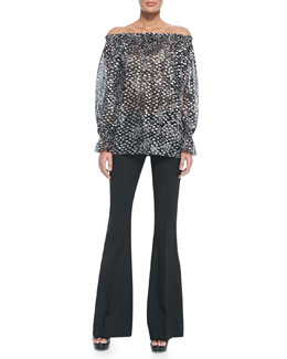Michael Kors  Off-The-Shoulder Chiffon Top & Stretch-Wool Flared Trousers