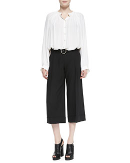 Michael Kors  Gathered-Shoulder Blouse & Pleated Cuffed Culottes