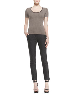 Michael Kors  Short-Sleeve Herringbone Top & Samantha Skinny Flannel Pants