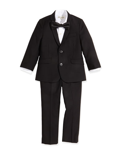 Boys' Two-Piece Mod Suit, Poplin Dress Shirt & Satin Bow Tie