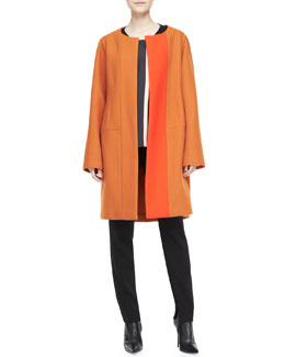 Narciso Rodriguez Two-Tone Collarless Coat, Multi Line-Block Top & Wool Crepe Pants