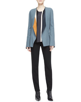 Narciso Rodriguez Drape-Lapel Colorblock Blazer & Wool Crepe Pants
