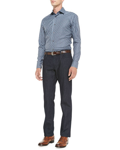 Salvatore Ferragamo Large-Check Woven Shirt & Dark-Wash 5-Pocket Jeans