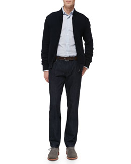 Salvatore Ferragamo Quilted Knit Bomber Jacket, Small-Gancini Woven Shirt & Dark-Wash 5-Pocket Jeans