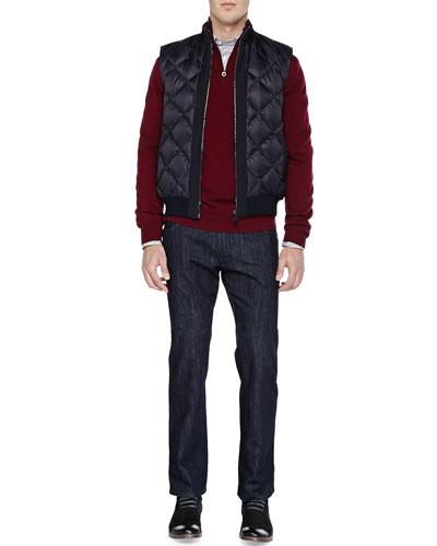Nylon Diamond-Quilt Vest, Wool Quarter-Zip Sweater, Bengal-Stripe Button-Down Shirt & Dark-Wash 5-Pocket Jeans