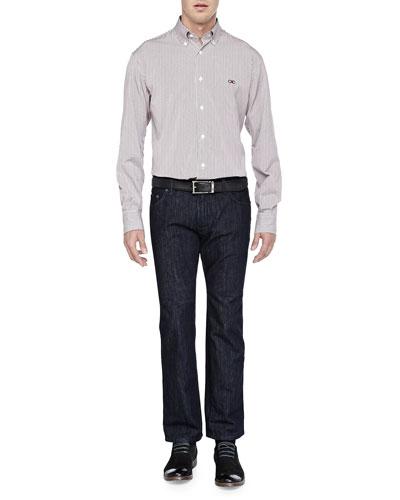 Salvatore Ferragamo Bengal-Stripe Button-Down Shirt & Dark-Wash 5-Pocket Jeans