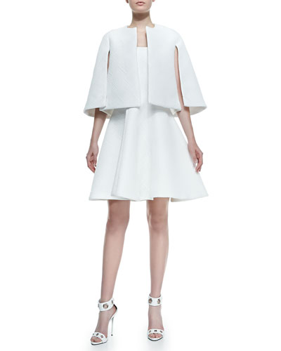 Alexis Dalianah Textured Cape & Natasia Textured Strapless A-Line Dress