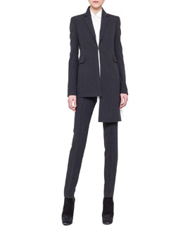 Akris Asymmetric Extended-Hem Jacket, Asymmetric Crepe Blouse & Slim Stretch Wool Pants